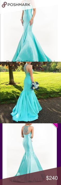 Rachel Allan Aqua mermaid pageant/prom gown High beaded neckline. Worn twice for prom and a pageant. Not altered. Dry cleaned Rachel Allan Dresses Prom