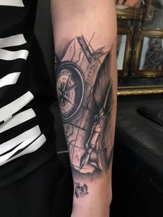 a064284e4 Map and compass tattoo by Cristian! Limited availability at Revival Tattoo  Studio.