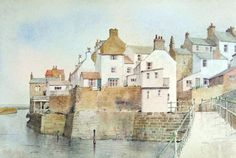 Staithes Beck by Malcolm Coils - 12 imperial watercolour on Bockingford paper Watercolor Painting Techniques, Pen And Watercolor, Watercolor Landscape, Landscape Art, Landscape Paintings, Watercolor Feather, Watercolour Paintings, Landscape Drawings, Watercolors