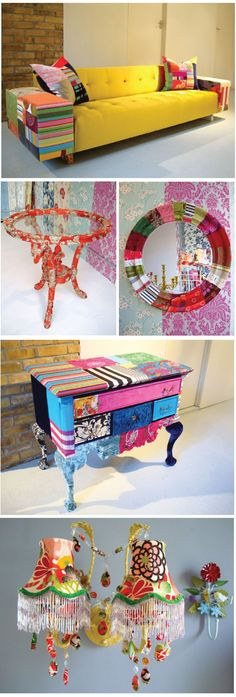 Ideas Patchwork Furniture Boho Ideas For 2020 Funky Painted Furniture, Bohemian Furniture, Painted Chairs, Colorful Furniture, Upcycled Furniture, Bohemian Decor, Cool Furniture, Furniture Ideas, Boho Chic