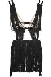 Agent ProvocateurTigre fringed tulle playsuit