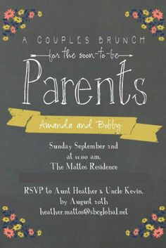 """Couples invite...could turn into a family invite """"For the soon to be parents and big sister?* Maybe"""""""