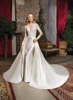 73d084369d6 cosmobella 2019 bridal long sleeves illusion jewel v neck heavily  embellished bodice glamorous elegant gold sheath wedding dress a line  overskirt keyhole ...