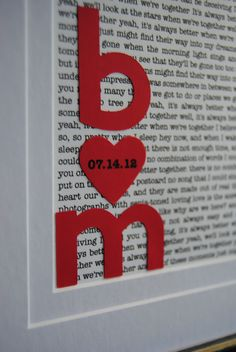 Framed Vows or lyrics to the song from the first dance, for first anniversary paper gift idea