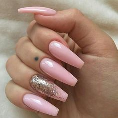 best 63 acrylic nail designs 2019 Baby Pink Nails Acrylic, Pink Ombre Nails, Pink Nail Art, Sparkly Nails, Baby Pink Nails With Glitter, Gold Glitter, Creative Nail Designs, Acrylic Nail Designs, New Year's Nails