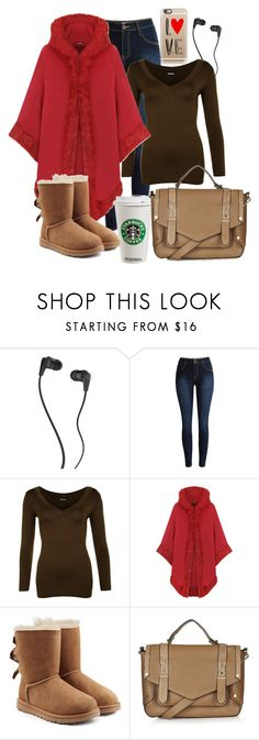 """Yep, Gotta Have My Starbucks"" by naviaux ❤ liked on Polyvore featuring Skullcandy, WearAll, UGG Australia, Topshop, Casetify, women's clothing, women's fashion, women, female and woman"