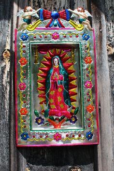 Lovely Mexican hand painted Tin Niche Virgin of von OaxacanArts, $42.00