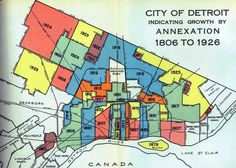 City of Detroit Annexation Map Detroit Map, Detroit History, Detroit Michigan, Michigan Facts, Grosse Pointe Farms, Erie Canal, Cartography, History Facts, Where To Go