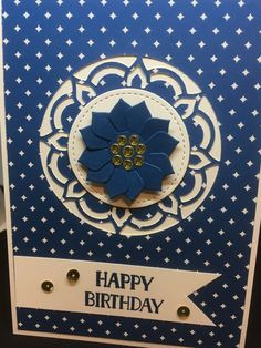 handmade birthday card featuring Eastern Palace ... navy and white with pops of gold ... Stampin' Up!