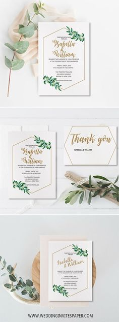 rustic chic wedding invitations/ elegant geometric green olive leaf wedding invitations #weddinginvitation