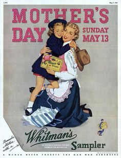 Vintage Mother's Day courtesy Whitman's Sampler ad, Life Magazine, May 7, 1951.