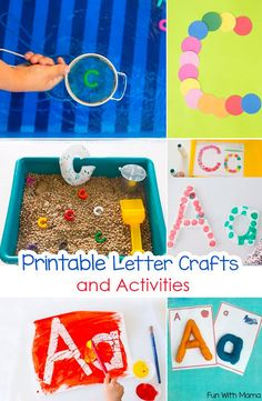 These toddler and preschool printable letter crafts and activities are perfect for your letter of the week curriculum. Kids will learn alphabet letters through sensory and art. via @funwithmama