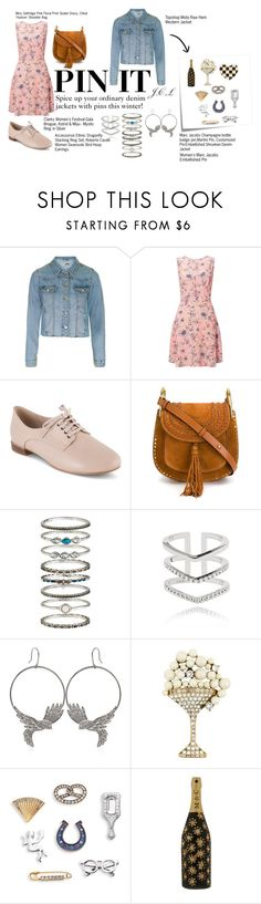"""""""Pin it all on your denim jackets"""" by jancelle ❤ liked on Polyvore featuring Topshop, Miss Selfridge, Clarks, Chloé, Accessorize, Astrid & Miyu, Roberto Cavalli, Post-It, Marc Jacobs and ootd"""