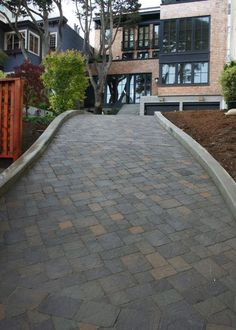 , Contemporary Landscape Also Driveway Design Ideas With Bricks Floor And V Shaped Pattern Also Modern House Design With Red Bricks Wall Style Also Traditional Windows Design With Black Frame: Paving Driveway Design for Your House Cheap Patio Pavers, Concrete Driveway Pavers, Block Paving Driveway, Modern Driveway, Driveway Paving, Stone Driveway, Driveway Design, Brick Pavers, Driveway Ideas