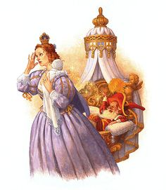 """Classic FAIRY TALES  """"Rumplestilskin""""      """"Rumplestiltskin and the Queen""""  The Miller Meets the King  Rumplestiltskin and the Queen  Classic Fairy Tales byScott Gustafson  Oil on masonite panel. Image size: 12"""" x 15."""""""