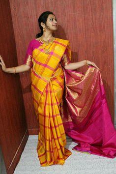Pattu Saree Blouse Designs, Kanjivaram Sarees, Saree Trends, Pure Silk Sarees, Saree Styles, Indian Designer Wear, Saree Wedding, Saree Collection, Indian Sarees