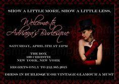 Burlesque printable and custom invitation
