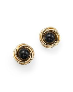 Onyx Love Knot Stud Earrings in 14K Yellow Gold - 100% Exclusive