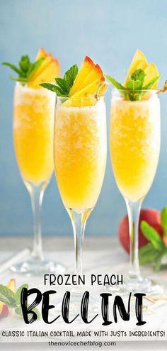 PEACH BELLINI Peach Bellini Recipe, Frozen Peach Bellini, Italian Cocktails, Fruity Cocktails, Festive Cocktails, Belini Recipe, Best Cocktail Recipes, Recipes Dinner, Drink Recipes