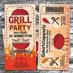 Einladungskarte Geburtstag Grill Garten Sommer