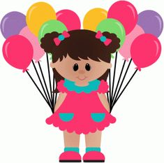 Silhouette Design Store - View Design birthday girl with balloons Happy Birthday Clip Art, Birthday Clips, Happy Birthday Girls, Art Birthday, Birthday Board, Birthday Wishes, Cricut Birthday Cards, Homemade Birthday Cards, Kids Birthday Cards