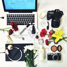 My @slateretail desk is an absolute STY. It' going to be a long night… #workhard #LorealLuxe (ps. Full post of happy flat-lays at http://shinebythree.com )