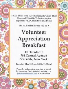Volunteer Appreciation Dinner Invitation  Pta