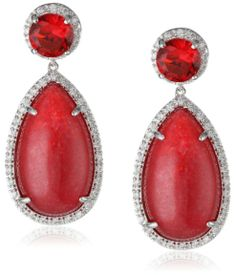 "CZ by Kenneth Jay Lane ""Trend"" Red Lapis and Cubic Zirconia Dangle Earrings"