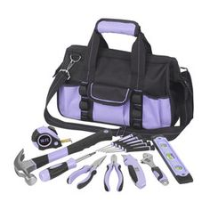 purple tools for women | 18-Piece Household Tool Set with Soft Case