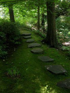 Garden path in the John Humes Memorial Japanese Stroll Garden on Long Island.