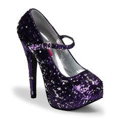 Sequin Mary Jane Heels$74.65  Get them in every color! Purple, blue, pink, black, gold, and red.