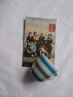 Hungarian vintage striped Granit faience coffee cup in blue-white-grey, and an antique French, Calais postcard, ladies in striped socks 1923 Striped Socks, Handmade Items, Handmade Gifts, Etsy Shipping, French Antiques, Coffee Cups, Blue And White, Tea, Unique Jewelry