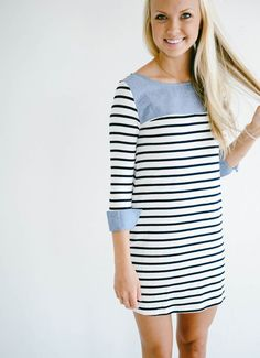 ---Stitch Fix Spring/summer fashion inspiration.I just love this stripe dress. The rolled up sleeve detail is adorable. Try best clothing subscription company. Click on the picture to get started. #sponsored #StitchFix