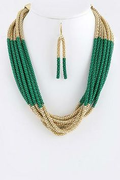 TONAL MULTI CHAINS FASHION STATEMENT NECKLACE EARRINGS SET (GOLD/GREEN)
