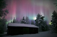 Northern Lights over a remote storage barn in Finnish Lapland.| Aurora Borealis | Flickr - Photo Sharing!