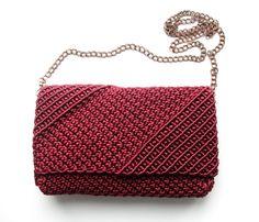 Crochet Clutch Bags, Crochet Backpack, Crochet Handbags, Clutch Purse, Macrame Design, Macrame Art, Micro Macrame, Macrame Purse, Macrame Tutorial