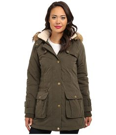 DKNY Fur Trim Hooded Cotton Canvas Parka 82115-Y4