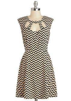 Zagging Rights Dress - Mid-length, Tan / Cream, Black, Cutout, Casual, A-line, Sleeveless, Chevron, Daytime Party