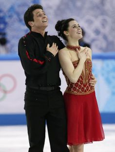 Tessa Virtue and Scott Moir of Canada compete in the team free ice dance figure skating competition at the Iceberg Skating Palace during the...