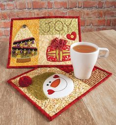 """""""Mug Rugs"""" by Denise Clason (from The Quilter Magazine Holiday 2013 issue)"""