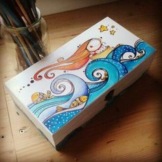 Painted Wooden Boxes, Painted Jewelry Boxes, Wood Crafts, Diy And Crafts, Arts And Crafts, Painting For Kids, Painting On Wood, Altered Cigar Boxes, Diy Gift Box