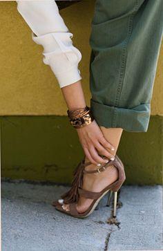 Casual Safari Chic #heels #olive #brown #cuffedpants