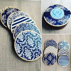 Decoupaged damask wooden coasters set of 6 by DumontsHandicrafts