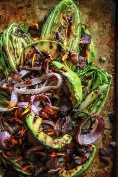 Grilled Romaine, Bacon, Red oniona dn Avocado Salad from HeatherCHristo.com