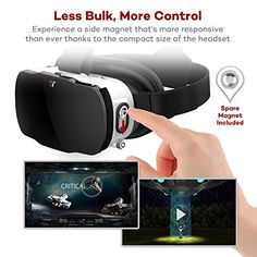 TaoTronics 3D VR Headset with Magnetic Trigger, Lightweight Virtual Reality Goggles – 3rd Generation VR Box (VR Glasses Compatible up to 700° of Nearsightedness- No External Remote Needed)
