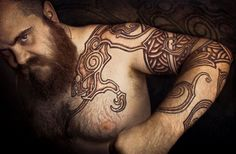 By Peter Walrus Madsen (Denmark). --- A nice depth in that pattern. Promising beard too!  #norsetattoo
