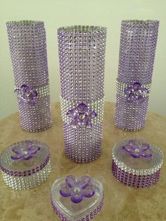 this bling vase is made with silver diamond mesh and the ribbon
