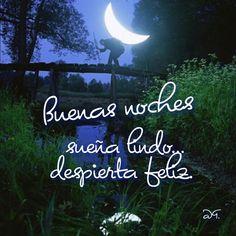 Buenas noches sueña lindo despierta feliz. Frase de motivacion