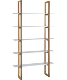 Buy Habitat Loki 5 Shelf Solid Oak Shelving Unit - White at Argos. Thousands of products for same day delivery or fast store collection. Oak Shelving Unit, Oak Shelves, Storage Shelves, Storage Spaces, Dvd Storage, White Extending Dining Table, Extendable Dining Table, 4 Shelf Bookcase, Bookcases