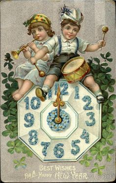 Divided Back Postcard Best Wishes For A Happy New Year Children Vintage Happy New Year, Happy New Year 2014, Happy New Years Eve, Happy New Year Cards, New Year Wishes, New Year Greetings, New Year Pictures, New Year Images, Victorian Christmas